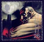 Millennium Series. The Inventors' Tale 26p Stamp (1999) Industrial Worker and Blast Furnace (James Watt's discovery of steam power)