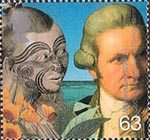 Millennium Series. The Travellers' Tale 63p Stamp (1999) Captain Cook and Maori (Captain Cook's voyages)