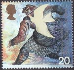 Settlers Tale 20p Stamp (1999) Dove and Norman settler (medieval migration to Scotland)