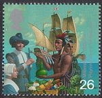 Settlers Tale 26p Stamp (1999) Pilgrim Fathers and Red Indian (17th century migration to America)