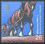 Farmers Tale 26p Stamp (1999) Horse-drawn Rotary Seed Drill (Mechanical farming)