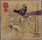 Millennium Series. The Scientists' Tale 26p Stamp (1999) Galapagos Finch and Fossilzed Skeleton ('Darwin's theory of evolution')