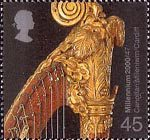 Millennium Projects (12th Series). 'Sound and Vision' 45p Stamp (2000) Top of Harp (Canolfan Mileniwm, Cardiff)