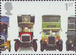 150th Anniversary of First Double-Decker Bus 1st Stamp (2001) Leyland X2 Open-top, London General B Type, Leyland Titan TD1 and AEC Regent 1