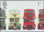 150th Anniversary of First Double-Decker Bus 1st Stamp (2001) AEC Regent III RT Type, Bristol KSW5G Open-top, AEC Routemaster and Bristol Lodekka FSF6G