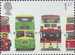 150th Anniversary of First Double-Decker Bus 1st Stamp (2001) Bristol Lodekka FSF6G, Leyland Titan PD3/4, Leyland Atlantean PDR1/1 and Daimler Fleetline CRG6LX-33