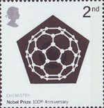 Centenary of Nobel Prizes 2nd Stamp (2001) Carbon 60 Molecule (Chemistry)