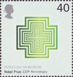 Centenary of Nobel Prizes 40p Stamp (2001) Crosses (Physiology of Medicine)