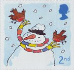 Christmas. Robins 2nd Stamp (2001) Robins with Snowman