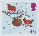 Christmas. Robins 45p Stamp (2001) Robins with Christmas Pudding