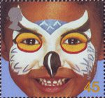 New Millennium. Rights of the Child. Face Paintings 45p Stamp (2001) 'Owl' - Teach Children