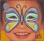 New Millennium. Rights of the Child. Face Paintings 65p Stamp (2001) 'Butterfly' - Ensure Children's Freedom