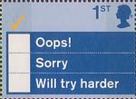 'Occasions' Greetings Stamps 1st Stamp (2003) 'Oops!, Sorry, Will try harder'