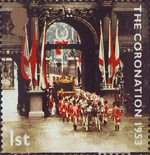 50th Anniversary of Coronation 1st Stamp (2003) Coronation Coach passing through Marble Arch