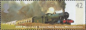 Classic Locomotives 42p Stamp (2004) GWR Manor Class Bradley Manor, Severn Valley Railway, Worcestershire