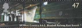 Classic Locomotives 47p Stamp (2004) SR West Country class Blackmoor Vale, Bluebell Railway, East Sussex