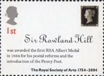 250th Anniversary of the Royal Society of Arts 1st Stamp (2004) Sir Rowland Hill Award