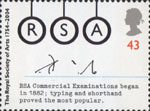 250th Anniversary of the Royal Society of Arts 43p Stamp (2004) 'RSA' as Typwriter Keys and Shorthand