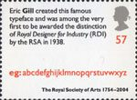 250th Anniversary of the Royal Society of Arts 57p Stamp (2004) 'Gill Typeface'