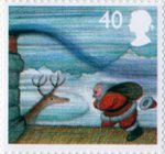 Christmas 40p Stamp (2004) On Roof in Gale