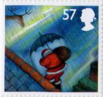 Christmas 57p Stamp (2004) With Umbrella in Rain
