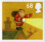 Christmas 68p Stamp (2004) In Fog on edge of roof with Torch