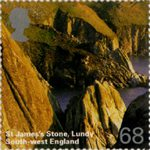 A British Journey : South West England 68p Stamp (2005) St James Stone, Lundy