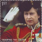 Trooping the Colour 1st Stamp (2005) Queen taking the salute as Colonel-in-Chief of the Genedier Guards, 1983