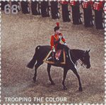 Trooping the Colour 68p Stamp (2005) Queen riding side-saddle, 1972