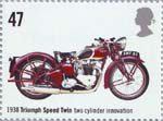 British Motorcycles 47p Stamp (2005) Triumph Speed Twin, Two Cylinder Innovation (1938)
