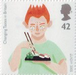 Europa. Gastronomy. Changing Tastes in Britain 42p Stamp (2005) Boy eating Sushi