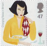 Europa. Gastronomy. Changing Tastes in Britain 47p Stamp (2005) Woman eating Pasta