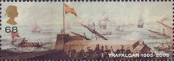 Bicentenary of the Battle of Trafalgar (1st issue) 68p Stamp (2005) Franco/Spanish Fleet putting to Sea from Cadiz