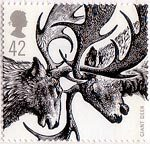 Ice Age Animals 42p Stamp (2006) Giant Deer (Megaloceros giganteus)
