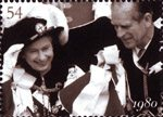 The Diamond Wedding Anniversary 54p Stamp (2007) Queen and Prince Philip at Garter Ceremony, 1980