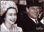 The Diamond Wedding Anniversary 54p Stamp (2007) Queen and Prince Philip at Royal Ascot, 1969