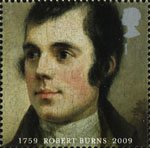 250th Anniversary of Robert Burns 1st Stamp (2009) Burns Portrait