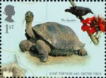 200th Birth Anniversary of Charles Darwin 1st Stamp (2009) Giant Tortoise and Cactus Finch