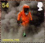 The Fire Service 54p Stamp (2009) Chemical Fire