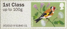 Pictorial Post & Go - Birds of Britain I 1st Stamp (2010) Goldfinch
