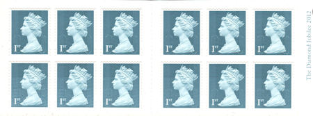 Booklet pane for Diamond Jubilee Miniature Sheet (2012)