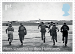 The Battle of Britain 1st Stamp (2015) Pilots scramble to their Hurricanes