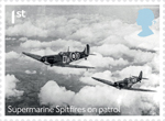 The Battle of Britain 1st Stamp (2015) Supermarine Spitfires on patrol