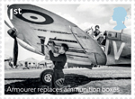 The Battle of Britain 1st Stamp (2015) Armourer replaces ammunition boxes