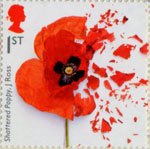 First World War 1917 1st Stamp (2017) Shattered Poppy, John Ross