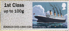 Post & Go : Royal Mail Heritage : Mail by Sea 1st Stamp (2018) RMS Olympic, 1911