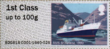 Post & Go : Royal Mail Heritage : Mail by Sea 1st Stamp (2018) RMS St Helena, 1990