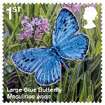 Reintroduced Species 1st Stamp (2018) Large Blue Butterfly