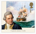 Captain Cook and Endeavour 1st Stamp (2018) Captain James Cook