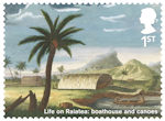 Captain Cook and Endeavour 1st Stamp (2018) Life on Raiatea: boathouse and canoes